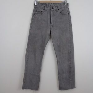 Levi Strauss 501 Straight Leg Denim Jeans Raw Hem